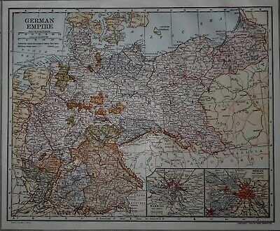 Antique 1914 Atlas Map World War WWI German Empire & Northern Part South America