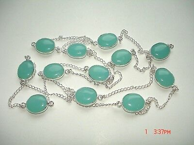 "AB One-of-a-Kind Aqua Blue-Green Chalcedony Silver 12-Station Necklace 28-36""+"