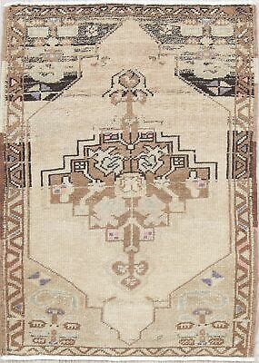 One-of-a-Kind Geometric Muted Oushak Turkish Hand-Knotted 2'x3' Distressed Rug
