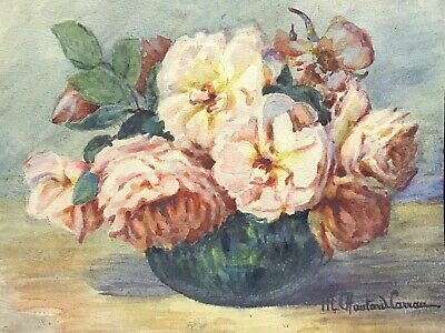 MARIE CHAUTARD-CARREAU - ROSES IN VASE - FINE EARLY 20thC FRENCH IMPRESSIONIST