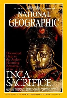 INCA SACRIFICE DINOSAURS IRAQ  Nat Geographic NOV 1999  TIGER SHARKS