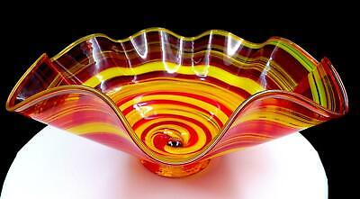 """Studio Art Glass Red Orange And Yellow Spiral Marble Center 12 3/4"""" Bowl"""