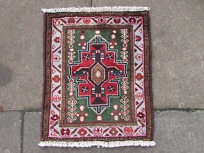 Old Traditional Hand Made Persian Rugs Oriental Wool Green Red Rug 59x48cm