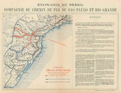 1900 Investment Broadside Map of the Sao Paulo and Rio Grande Railway, Brazil