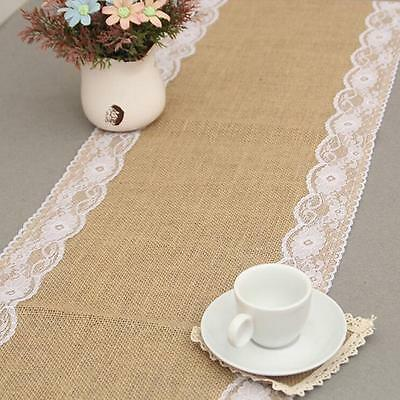 Rustic Burlap Lace Hessian Table Runner Jute Wedding Banquet Party Supplies DB