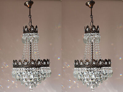 Two Matching Vintage Crystal Chandelier, Antique French Ceiling Lighting, Light