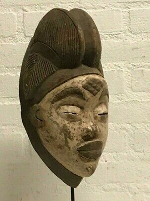 190211 - Tribal used Old African female mask from the Punu - Gabon