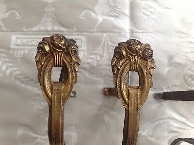 BEAUTIFUL PAIR Antique CHATEAU CHIC French GILT CURTAIN POLE HOLDERS/BRACKETS.