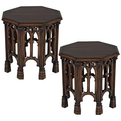 Design Toscano Gothic Revival Octagonal Side Table: Set of Two