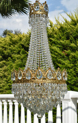 Large Antique Lighting Crystal Chandelier, Vintage Home & Living Lamp Pendant
