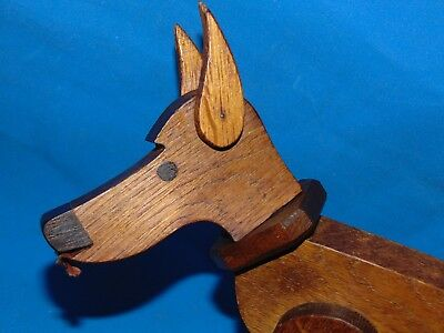 "SPLENDID  antique  12 "" jointed  wood oak  DOG TOY /DOLL/ mannequin"