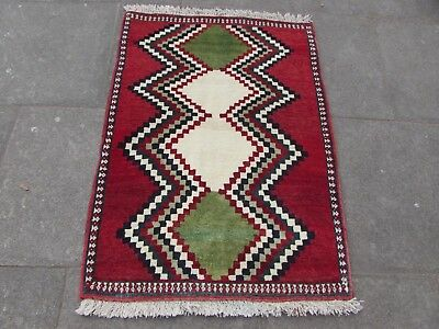 Old Traditional Hand Made Persian Oriental Wool Red Green Gabbeh Rug 121x88cm