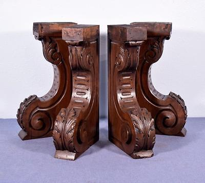 *4 XL Antique French Walnut Corbels/Brackets Carved Architectural Columns