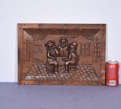 *French Antique Carved Panel Solid Oak Wood Door w/Men Sitting at a Table