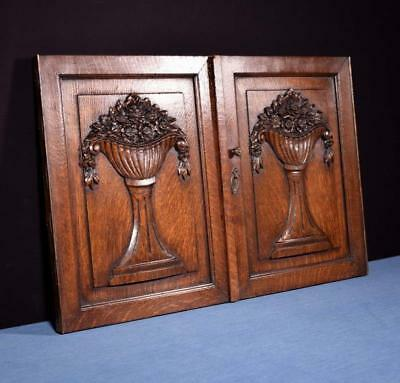 *Pair of Antique French Highly Carved Panels in Oak Wood Salvage with Flowers