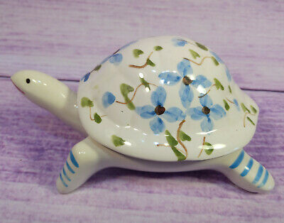 Portugal Turtle Blue Floral Trinket Jewelry Box Tortoise Porcelain Shell Lidded