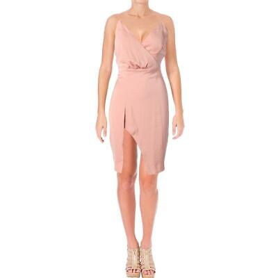 Stylestalker Womens Kaylee Pink Draped High Slit Party Slip Dress M BHFO 0740