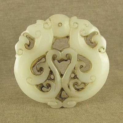 Chinese Old White Jade Openwork With Carved Phoenix Bird Pendant