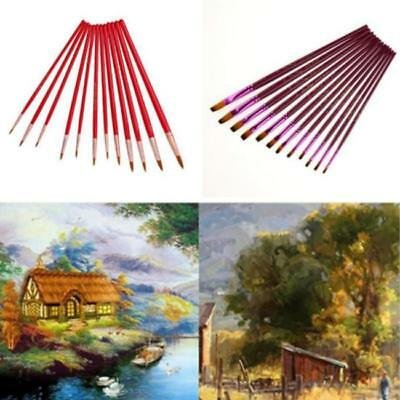 12pcs Artist Paint Brushes Pointed Brush Set Watercolor Painting Acrylic Pen DB