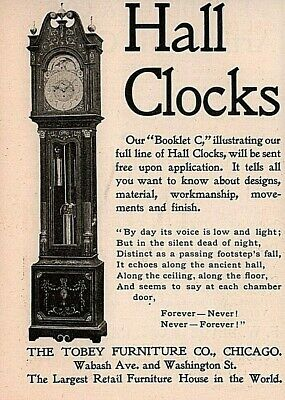Early 1900 'S Ad Tobey Furniture Co Hall Clock Poem