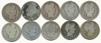Lot Of Ten Different Barber Silver Half Dollars 1901 To 1915