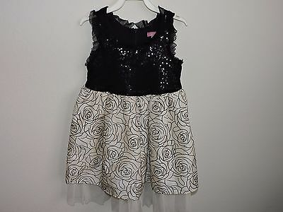 fbea5c63 Le Pink Girls Dress Black White Roses Tulle Sequins Sparkle Fancy Party  Layers 5