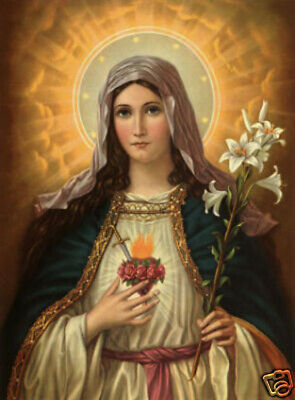 "Hand Painted Portrait Oil Painting On Canvas: Sacred Heart Of Mary 24""x36"" 99362"