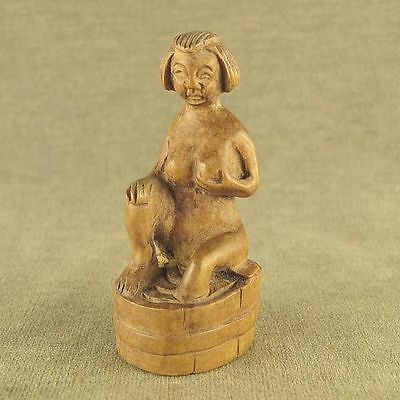 Old Wood Carving Chinese Boxwood With Carved Bath Woman Hang