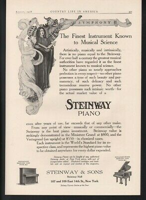 1908 Steinway Piano Music Dance Miniature Grand Upright Jester Instrument 22562