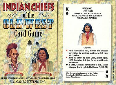 Indian Chiefs of the Old West Playing Cards Game Bridge Size Deck USGS Custom
