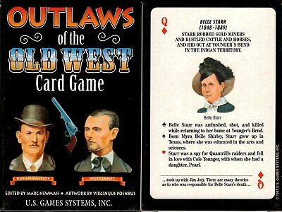 Outlaws of the Old West Playing Cards Game Bridge Size Deck USGS Custom New