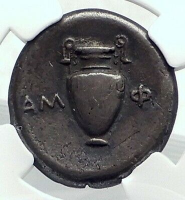 THEBES in BOETIA Authentic Ancient Silver Greek Coin AMPHORA SHIELD NGC i77392