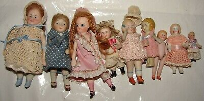 """Lot Of 9 Vintage All Bisque Dolls 1 3/4"""" - 4 3/4"""" Most W/ Clothes German & More"""