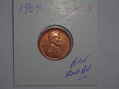 wheat penny 1909 VDB LINCOLN CENT NICE RED BU 1909-P V.D.B LOT #B RED UNC LUSTER