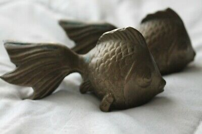 RARE Pair of Vintage sculptural Fish as decoration or as hardware
