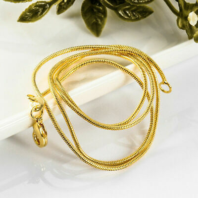 Fashion Women Men 1.2mm 18K Gold Plated snake Chain Necklace Jewelry Gift