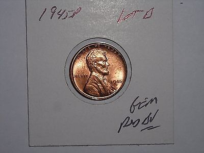 wheat penny 1945D LINCOLN CENT SHARP RED BU 1945-D NICE GEM RED UNC LOT #B