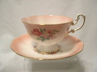 vintage Royal Albert footed cup and saucer Roses soft pink bone china England