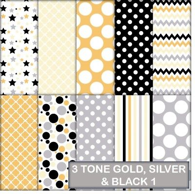 3 Tone Gold, Silver & Black Patterns Scrapbook Paper - 10 A4 Pages