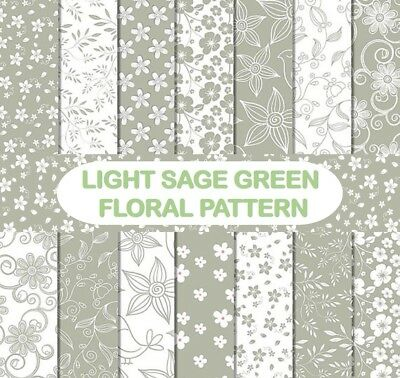LIGHT SAGE GREEN FLORAL PATTERN SCRAPBOOK PAPER - 14 x A4 pages