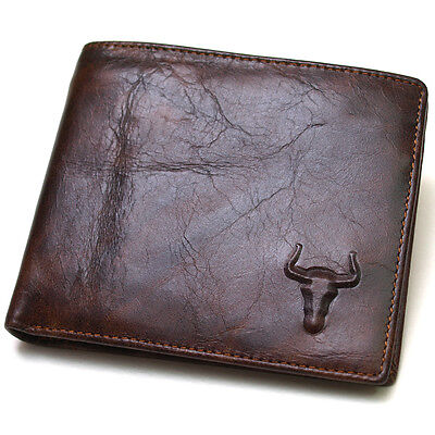 Men's Genuine Leather Wallet Coin Purse Credit Card Holder ID Window Retro Style