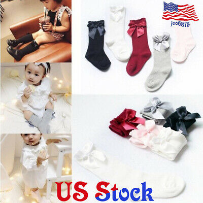 2c8c2b155b135 Baby Girls Plain Knee High Socks Bow Infant Toddlers Stockings Breathable  Cotton