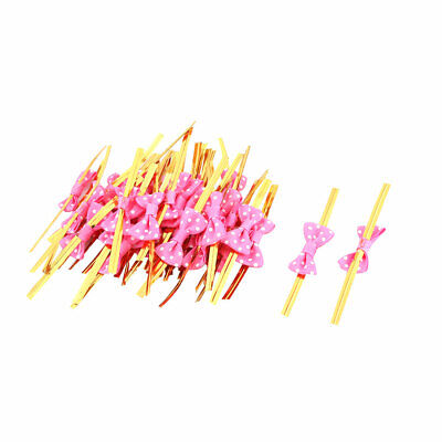Dots Print Bowknot Decor Candy Cookie Bag Wrapping Rope Twist Tie Fuchsia 40pcs