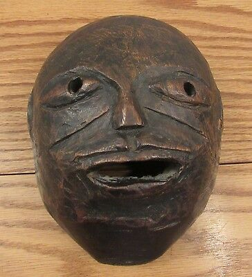 """Antique Nepal/TIbet carved wood mask w/wax export seal 6.5""""x8""""x4"""""""