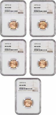 Lot of 1977-D 1c NGC MS66 RD (5 Coins) - Lincoln Cent