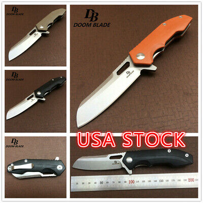 "7.9""  Tactical Survival Folding Knife D2 Blade Ball Bearing Knives G10 Handle"