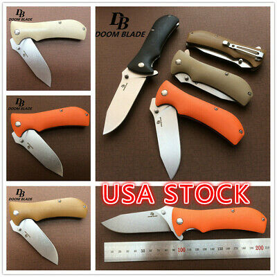 "7.9"" Knives G10 Folding Knife D2 Blade Ball Bearing Washer Camping Pocket Knifes"