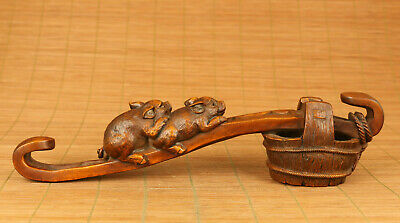 old antique boxwood pig fetch water statue netsuke table ornament noble gift