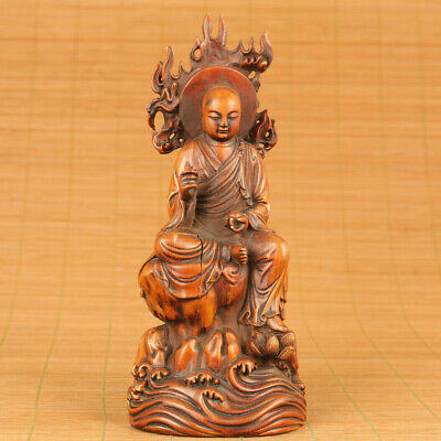 old antique boxwood hand carved buddha statue netsuke blessing ornament