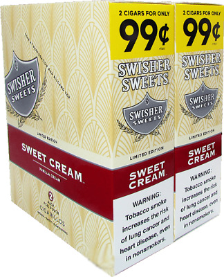 1 A SWISHER SWEETS BOX of Sweet Cream 2 In A Pouch 15 Pouches Total 30Pcs